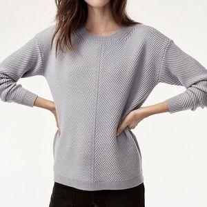 Aritzia Wilfred Free Isabelli Sweater Grey Merino Wool Sz XXS